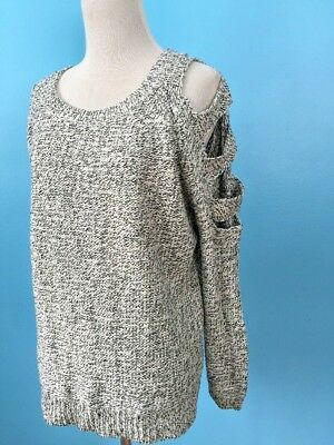 Design Lab Lord Taylor Womens Sweater Small Black White Mock Wrap