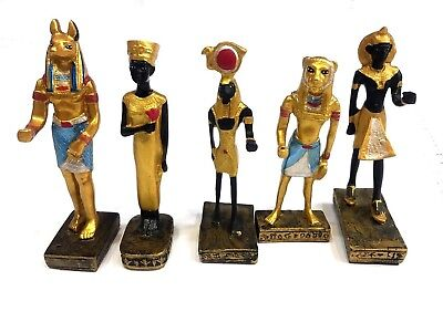 Ancient Egyptian Mini Figurines STATUES HAND PAINTED Anubis Sekhmet Nefertiti