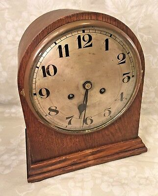 Antique Beehive Clock Mahogany Case Runs Strikes Unmarked Maker Germany