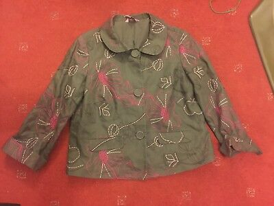 MONSOON JACKET SIZE 14, Grey, Floral