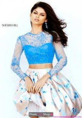 Sherri Hill Formal Two Piece Sz 4 Blue Lace Top and Pink Satin Skirt MSRP $680
