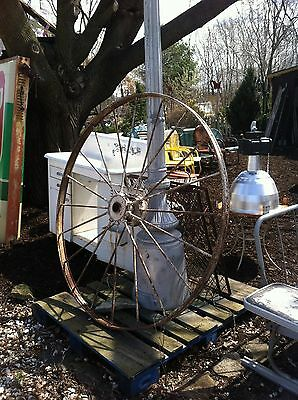 Vtg Antique Primitive Steel Spoke Wagon Cart Implement Wheel Farm tractor