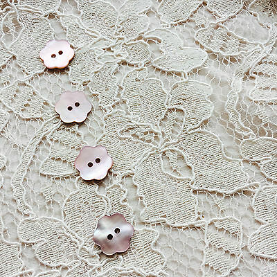 DROPS Flower Petal REAL Mother of Pearl Shell buttons 15mm BLUSH,PINK,RED
