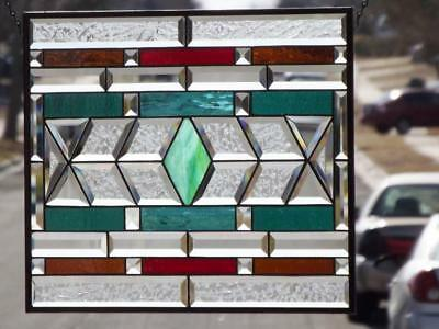 """•VIBRANT •""Beveled Stained Glass Window Panel • 20 ½""X 17 ½"" (52x44)"