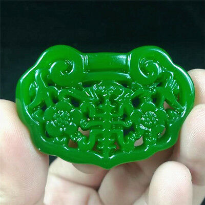 New China hand-carved Green jade 福在眼前 Pendant Necklace Amulet