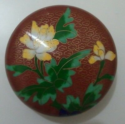 Antique Brass Rust Cloisonné Floral Trinket Box