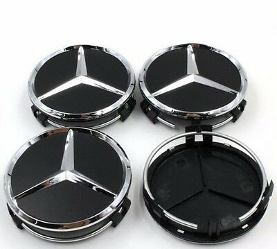 4X Fit for MERCEDES BENZ BLACK CENTER WHEEL HUB CAPS 75MM COVER CHROME EMBLEM