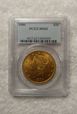 1900 $20 PCGS MS 62 Gold Liberty Double Eagle Coin