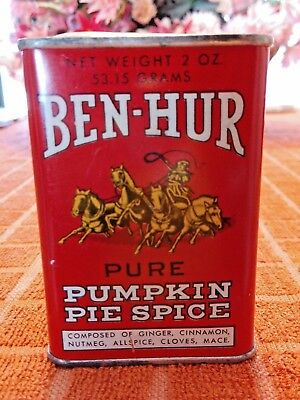 Vintage BEN-HUR PUMPKIN PIE SPICE Metal Spice Tin - Excellent Condition