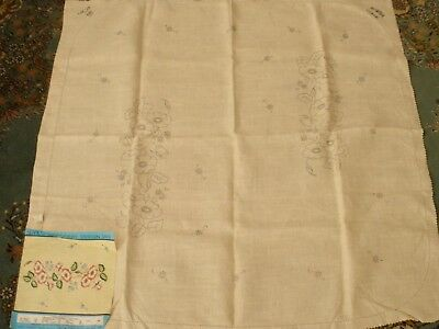 Vintage Semco Linen Tablecloth To Embroider Design #365  87Cm X 87Cm With Label