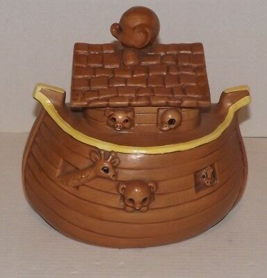 Collectible Noah's Ark Cookie Jar Animals Boat Collectible - Twin Winton Calif