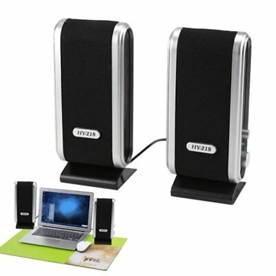 2X Black Multimedia Stereo Usb Speakers System For Laptop Desktop Pc Computer Us