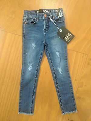 Cotton on girls denim jean distressed rips NEW with tags size 4 RRP $29.99