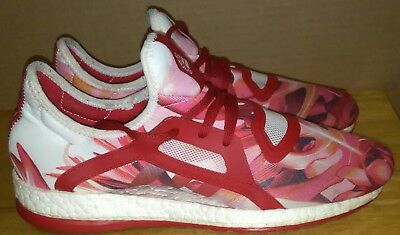 9925ae7f51a77 ADIDAS PURE BOOST X Womens SNEAKERS Red Pink FLORAL AQ6694. Sz 9.5 ...