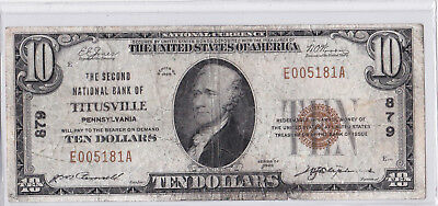 $10 1929 T1 Second National TITUSVILLE Pennsylvania PA Hard to Find Charter 879