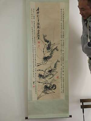Excellent old Chinese Scroll Painting By Qi Baishi: shrimp x001