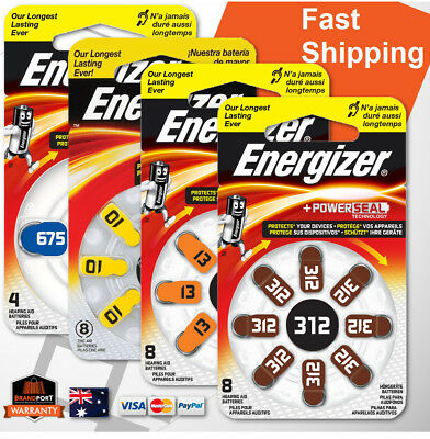 Energizer HEARING AID batteries sizes 10, 13, 312 or 675 LONG LIFE Power Seal OZ