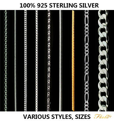 Genuine Hallmarked Real 925 Solid Sterling Silver Chain Necklace Various Styles