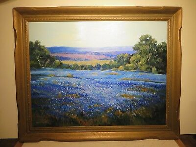 "31x40 original oil painting on board by Hardy Martin ""Texas Bluebonnets"""
