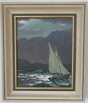 Original Vintage Signed Stormy Sailing Boat Yacht Marine Oil Painting On Board