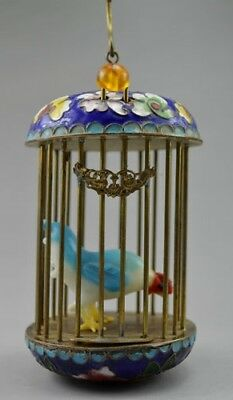 Cloisonné Bird Cage with Porcelain Rooster