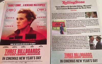 Promotional Movie Flyer Three Billboards Outside Ebbing, Missouri *NOT A DVD*