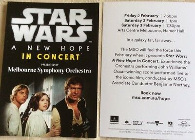 Promotional Postcard Star Wars A New Hope In Concert By MSO Feb 18