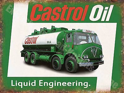 Vintage Garage, 65 Castrol Motor Oil Truck, Old Advertising Small Metal Tin Sign