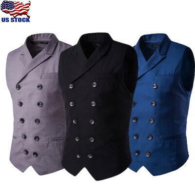 Mens Double Breasted Gilets Waistcoat Slim Formal Business Suit Vest Jackets USA