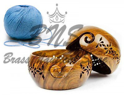 Wooden Yarn Bowl with holes new design Portable Knitting Yarn Bowl holes and Hoo