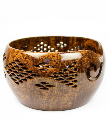 Rosewood Crafted Wooden Yarn Storage Bowl With Carved Holes & Drills | Knitting