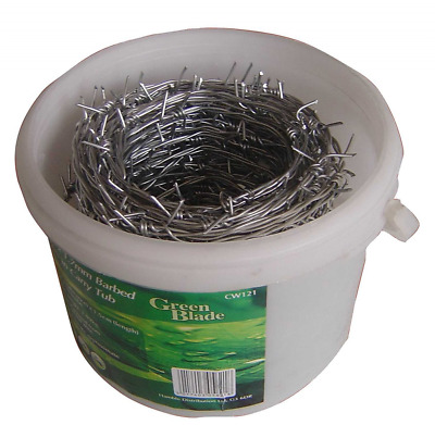 Green Blade BB-CW121 30m x 1.7mm Galvanized Barbed Wire in Carry Tub