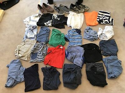 Bulk Lot Of 25 Size Medium Shirts Including Tommy Hilfiger And 3 Pairs Of Shoes