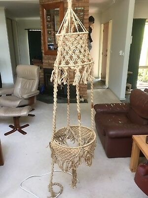 VINTAGE Macrame Lantern Pot plant Hanger.138+ cm. Has wiring to make into light