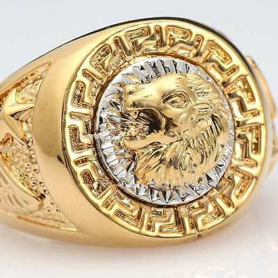 Lion Head Ring, Versace / Gucci Style, Streetwear Fashion For Men - Gold - 8-12
