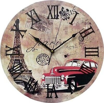 Wall Clock Duve 141310-P Wood Round Inches 13.77 Quartz Old England Paris