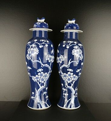 A Perfect Pair Of Large Prunus Vases With Covers & Mark To Base