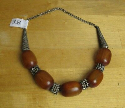 Omani   tribal silver necklace -  with amber beads
