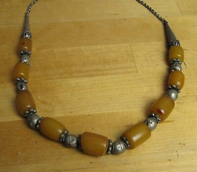 Omani   tribal silver necklace -  with small amber beads