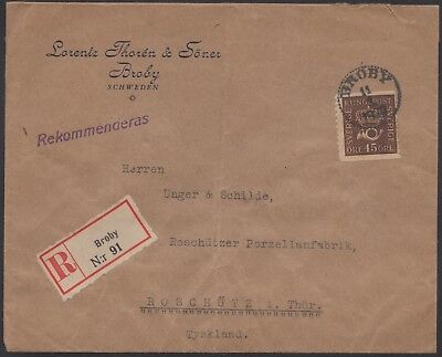 1930 Sweden registered cover, Broby to Roschutz