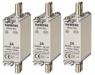 Siemens 3NA3812 LV HRC Fuse Element, NH000, 32A Max, 500VAC 250VDC, Pack of 3