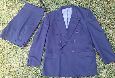 NAVY BLUE DOUBLE BREAST SUIT Sz 107 ANTHONY RUBINO COOL PURE NEW WOOL RRP $599