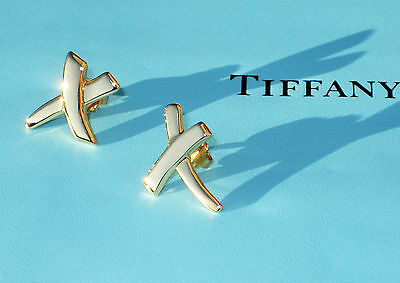 Tiffany & Co Paloma Picasso Small 18Ct 18K Gold KISS Earrings