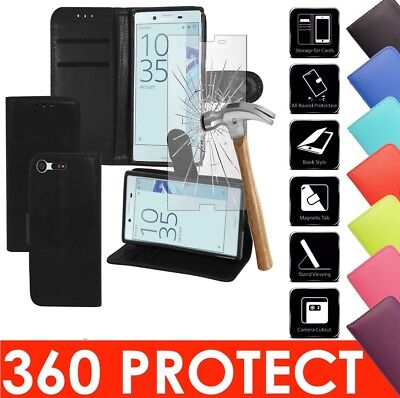 Flip Leather Case Cover & 100% Genuine Tempered Glass For Sony Xperia Experia