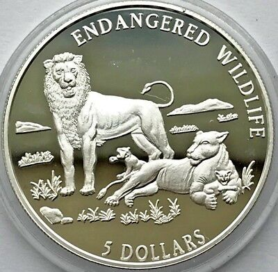 "Cook Islands SILVER coin 5 Dollar ""Endangered Wildlife, Lions"" 1996"