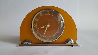 Art Deco Phenolic Katalin Electric Mantle Clock with Chrome Base and Surround