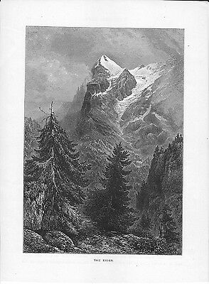 Switzerland Alps Print Illustration from a Book The Eiger mountain