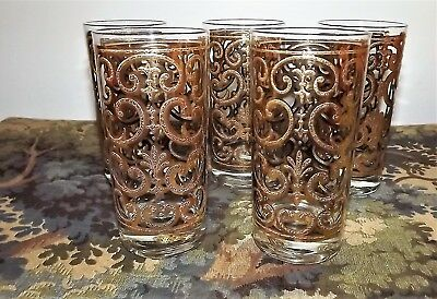 Vintage 5 Georges Briard 24k Gold Spanish Scroll 10 oz Highball Tumblers Signed
