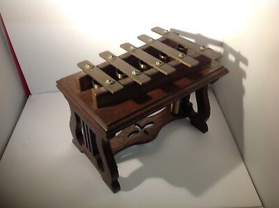 Antique Edwardian Oak & Brass Table Top Xylophone