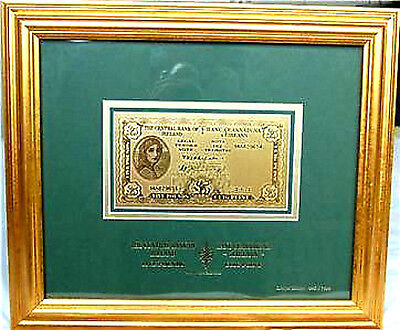 Irish Limited Edition 99.9% pure Gold Lavery £5 Note cuig puint Framed with COA+